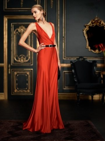 Red Art Deco Evening Gown