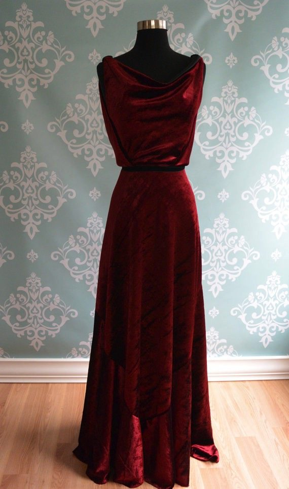 Wine Red 1930s Velvet Evening Gown | Deco Shop